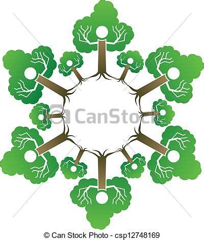 Family Tree People Like Tree In A Circle Family Tree Clip Vector