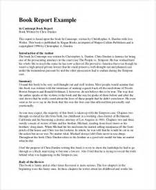Book Report Writer Sample Book Report 8 Documents In Pdf Word