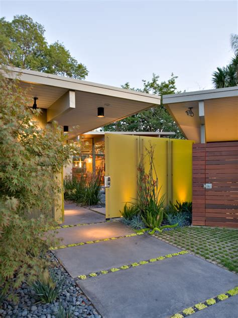 welcoming mid century modern entrance designs
