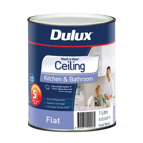 Dulux Bathroom Paint Yellow Dulux Wash Wear Kitchen Bathroom 1l White Ceiling Paint
