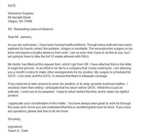 Sle Letter Request Indefinite Leave Absence how to write a leave of absence letter with sles