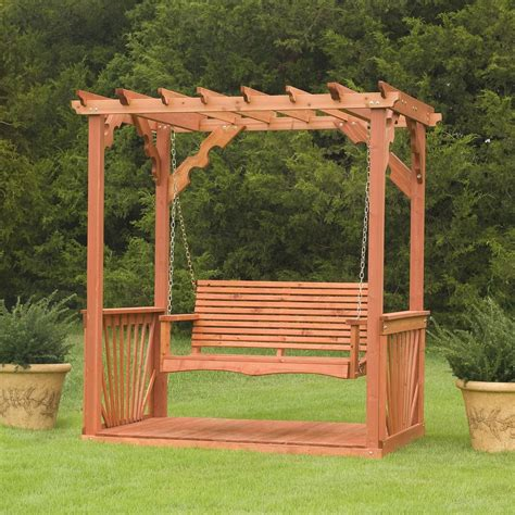 lawn swing porch swing frame plan wooden cedar wood pergola