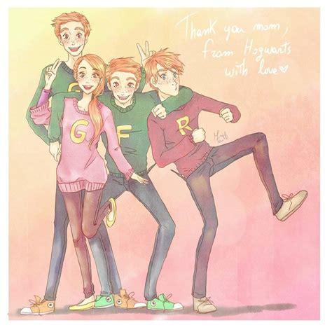 Harry Potter Bedroom Ideas fred george ron and ginny with their christmas sweaters