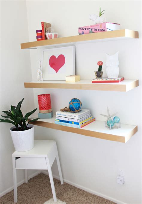 a bubbly life diy ikea hack floating shelves color block