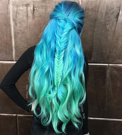 hair plats with color wavy mermaid teal blue aquamarine green hair with