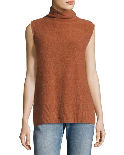 Turtleneck Side Slit Sweater vince side slit sleeveless turtleneck sweater