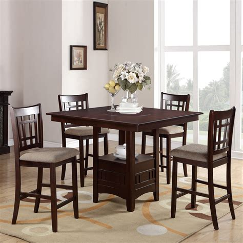 5 pc counter height dining set built in lazy susan storage