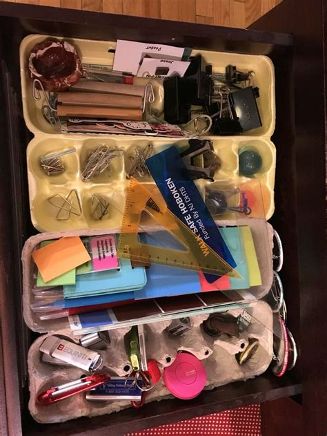 organize desk drawers with egg cartons organizing with