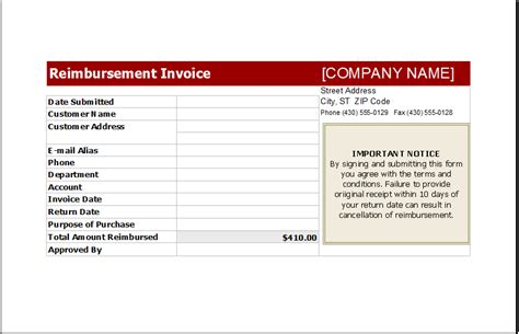reimbursement invoice template invoice template reimbursement hardhost info