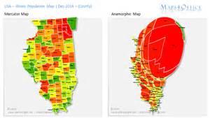 usa illinois map population county heatmap anamorph us