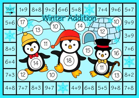 printable winter board games classroom treasures winter themed addition games