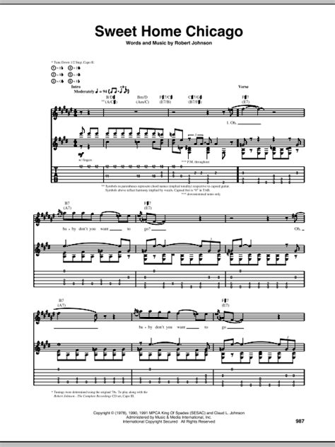 sweet home chicago guitar tab by robert johnson guitar