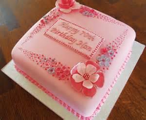pink flowery 70th birthday cake