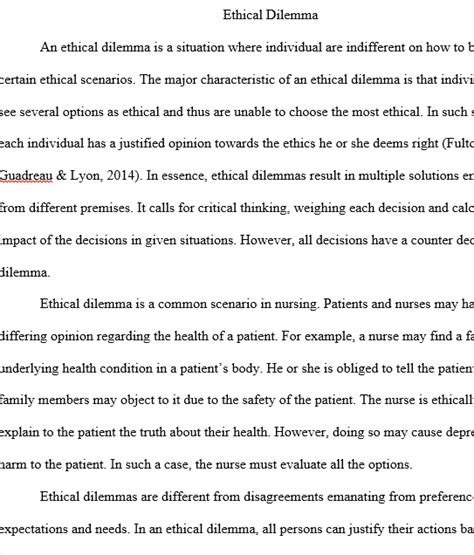 Ethical Dilemma Essay Exle by Ethical Dilemma In Nursing Regent Essays