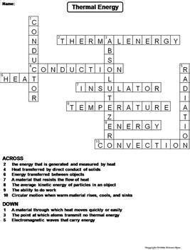 Energy Review Worksheet by Thermal Energy Worksheet Crossword Puzzle By Science Spot
