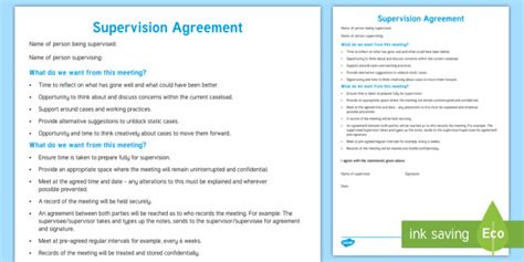 supervision agreement template supervision agreement template families