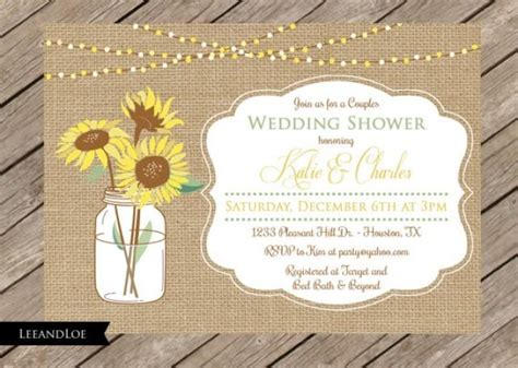 coed bridal shower rustic couples or coed wedding shower invitation burlap sunflowers bridal shower rehearsal