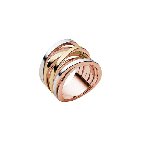 Michael Kors Ring by Michael Kors Tri Tone Stack Ring In Pink Lyst