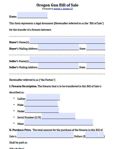 Free Oregon Firearm Gun Bill Of Sale Form Pdf Word Doc Bill Of Sale Template Oregon