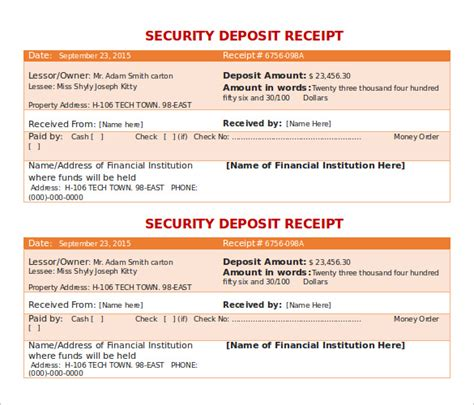 security deposit receipt template doc for free the