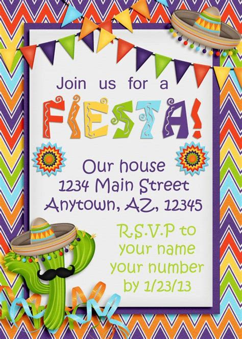 Best 25 Quot Fiesta Invites Quot Images On Pinterest Mexican Fiesta Party Invites And Mexican Fiesta Mexican Invitation Template