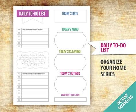 daily to do list planner template printable organize