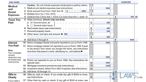 itemized deductions form 1040 schedule a
