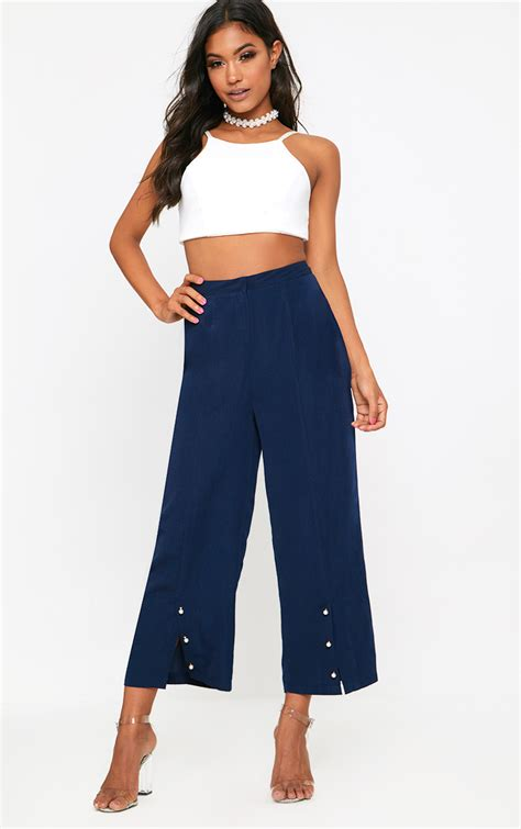 Cullote Basic Navy culottes s cropped trousers prettylittlething