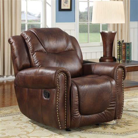 brown leather recliner chair sale witiker brown faux leather rocker reclining chair