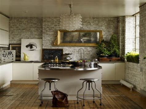 Kitchen Wall Covering Ideas by Green Countertop With White Cupboards Brick Wall