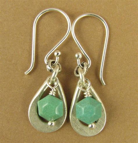 Handmade Sterling Silver Hoop Earrings - turquoise and silver dangle earrings teardrop hoop