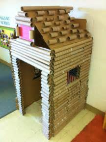 Cardboard Paper Craft - cardboard box and paper towel gift wrap log cabin