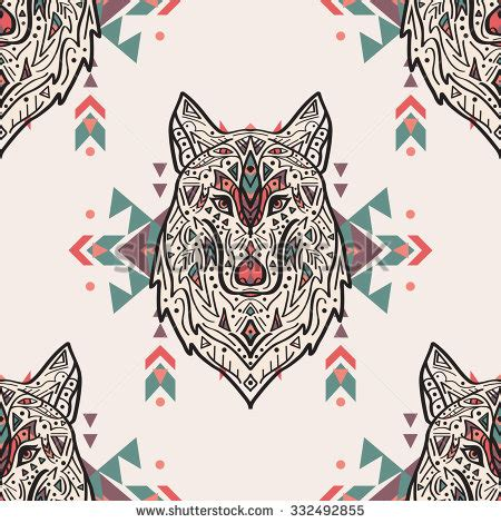 wolf pattern stock vector grunge colorful seamless pattern with tribal style