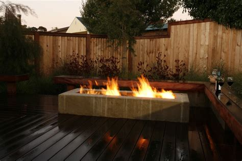 Rectangle Fire Pit Deck Contemporary With Bench Built In Contemporary Firepit