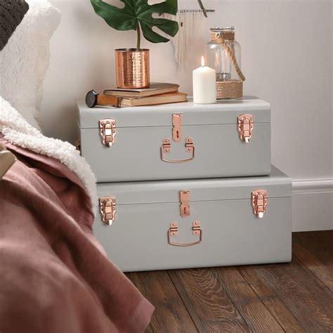 black and rose gold dresser vintage set of 2 metal bedroom storage chests trunks boxes