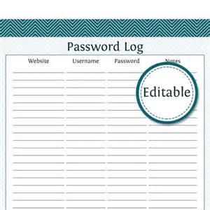 password journal template password log fillable instant printable