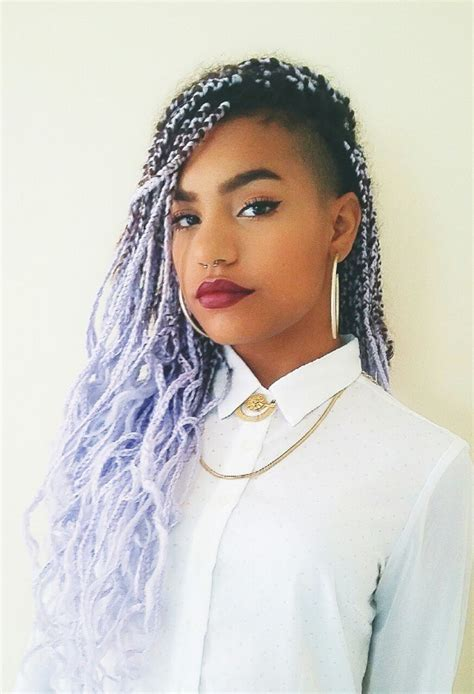 20 Aristocratic Purple & Grey Box Braid Styles ? HairstyleCamp