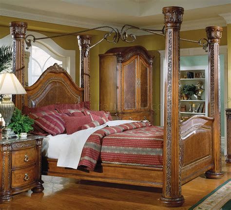 warm cherry finish royal post canopy bed woptional case