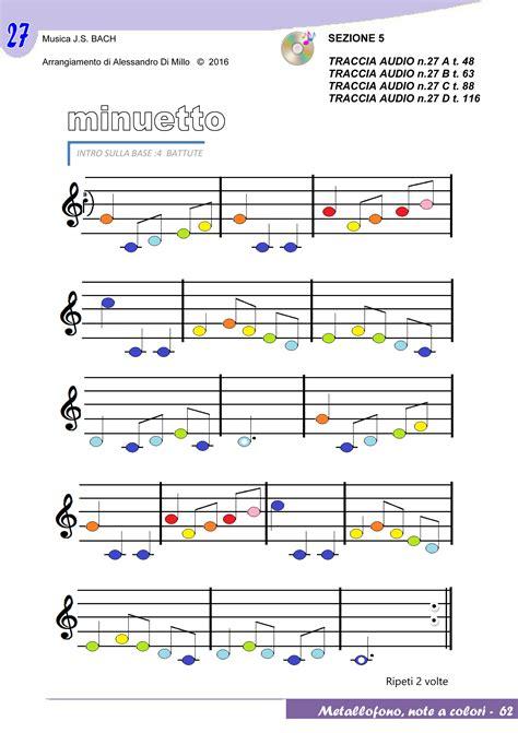 minuetto testo lezione 5 con le note colorate crome col minuetto di bach