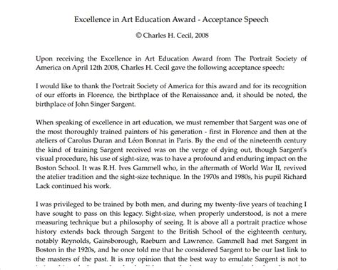 19 Award Speech Exles Sles In Pdf Presenting An Award Speech Exle