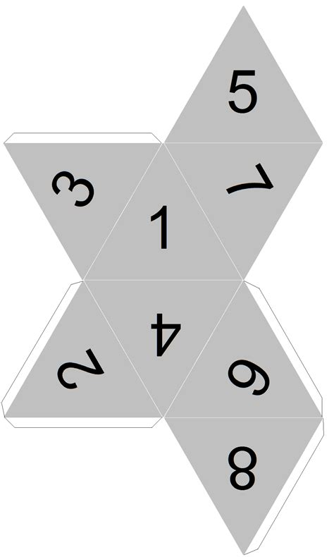 printable 8 sided dice template dicecollector com s paper dice templates