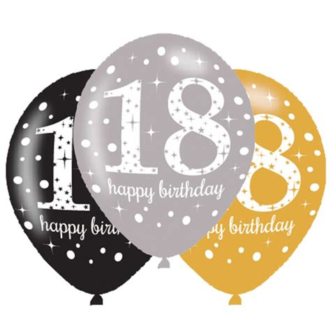 Balon Karet Polkadot 6 x 18th birthday balloons black silver gold
