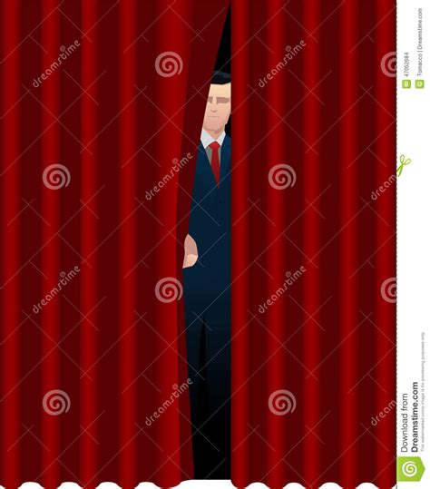 behind curtain man behind curtain stock illustration image 47052684