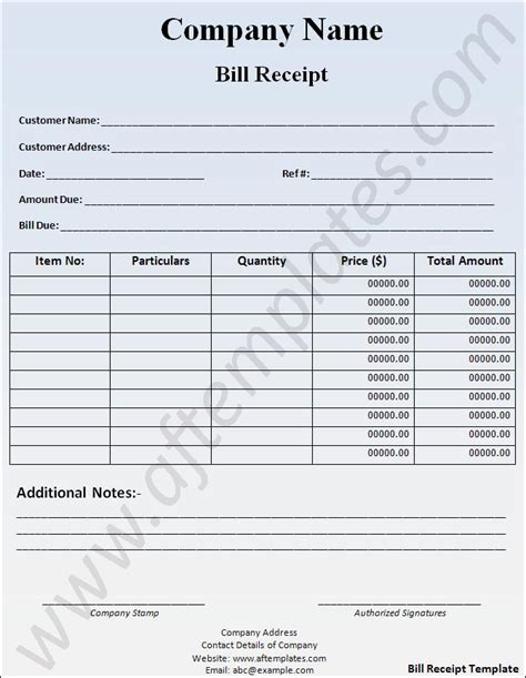 bill receipt template free bill receipt template all free word templates