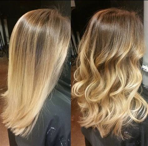 straight sholder length ombre hair balayage or