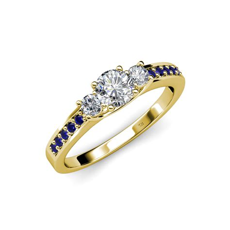 Blue Sapphire 5 24 Ct 3 ring with blue sapphire on side bar 1 05