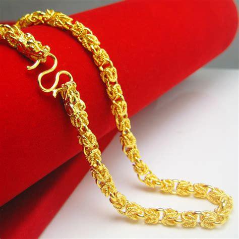 Bangle Hongkong 24k 10 730 Gram 和真金一样不掉色双龙头黄金项链男士款24k镀999千足金泰国链空心