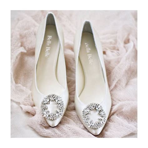 ivory or white silk wedding shoes with vintage oval