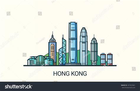 Banner Design Hong Kong | banner hong kong city flat line stock vector 337457801