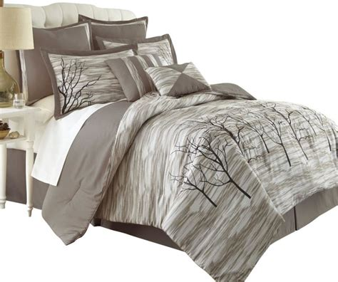 alison tree print 8 piece comforter set king taupe